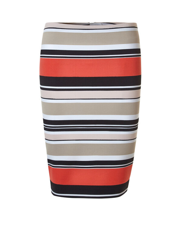 Ottoman Striped Pencil Skirt, Stripe, hi-res