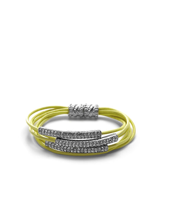 Yellow Leather Cord Magnetic Bracelet, Yellow, hi-res