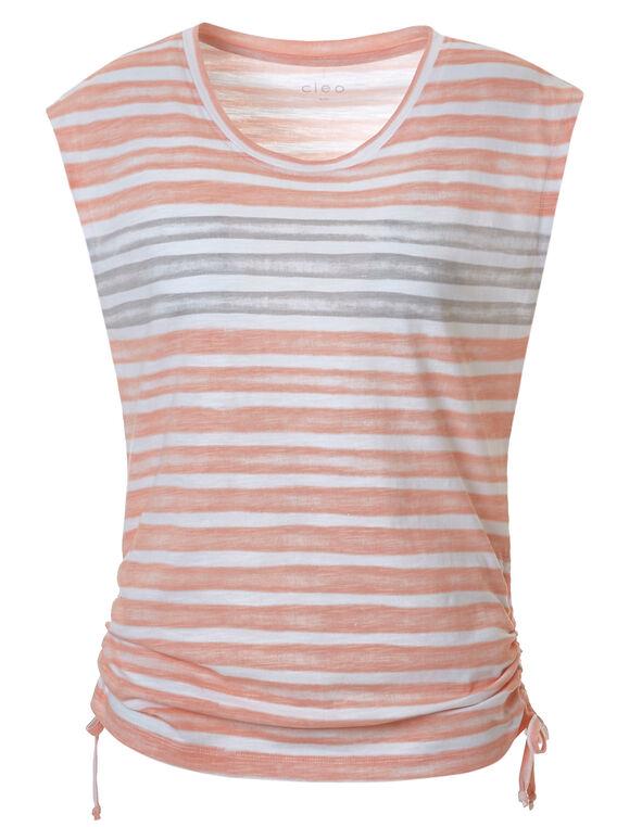 Stripe Adjustable Ruching Tee, Orange Stripe, hi-res