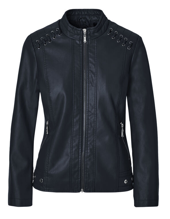 Navy Scuba Faux Leather Jacket, Navy, hi-res