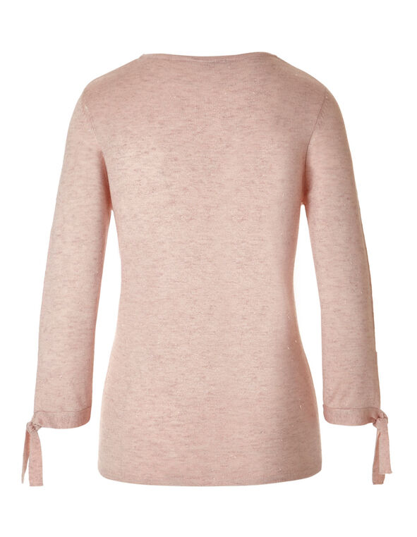 Soft Blush Tie Pullover Sweater, Soft Blush, hi-res