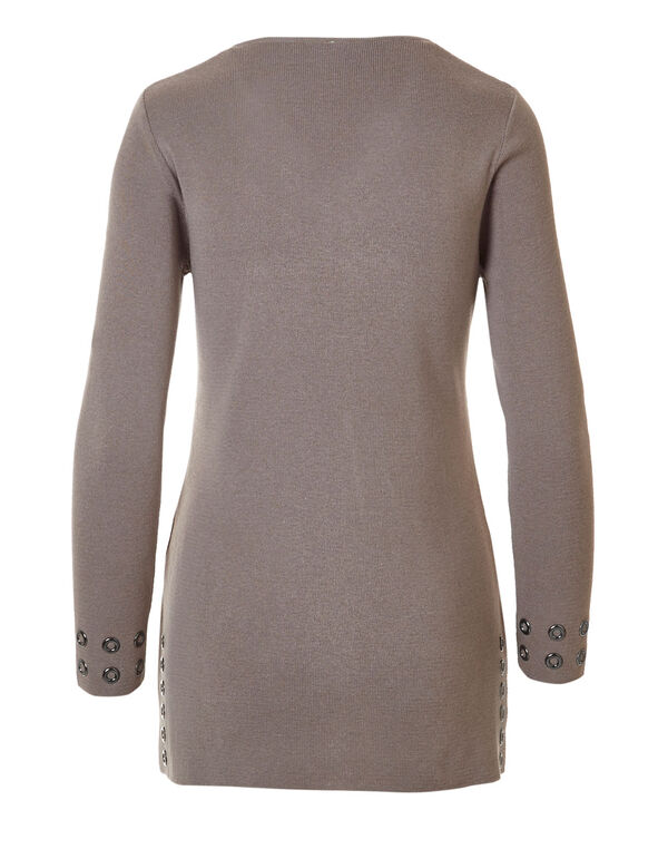 Oat Mix Grommet Tunic Sweater, Oat Mix, hi-res