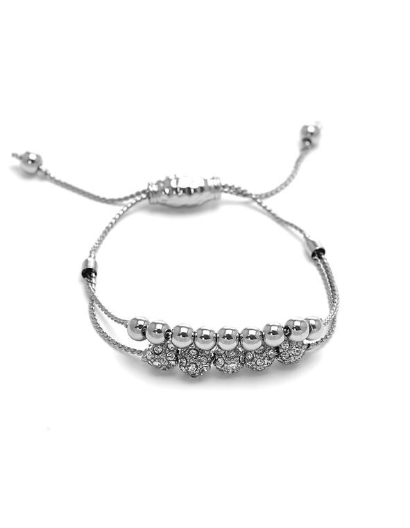 Silver Double Row Adjustable Bracelet, Silver, hi-res