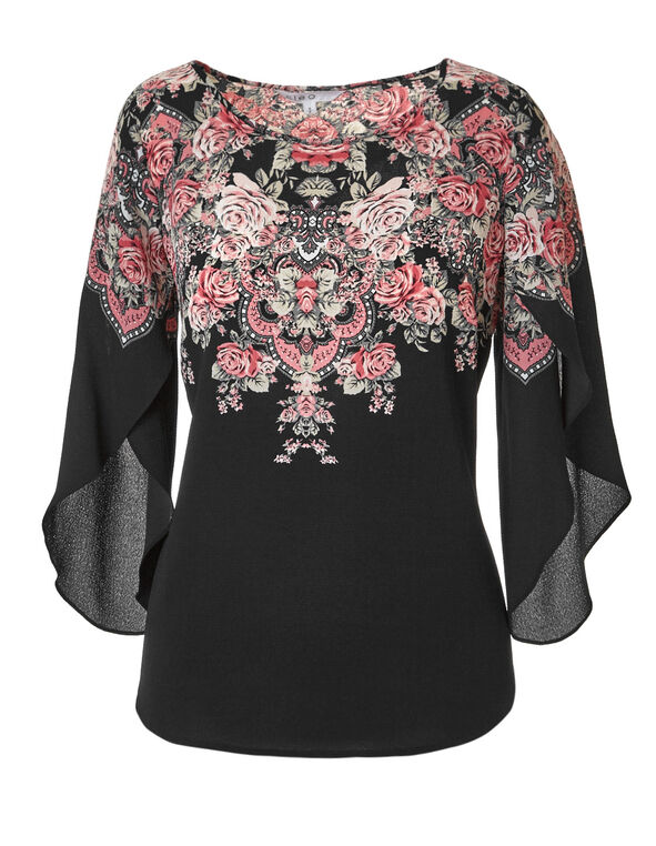 Black Placement Printed Blouse, Black Pattern, hi-res