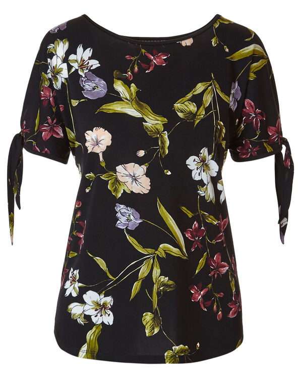 Black Floral Tie Sleeve Top, Black Floral, hi-res