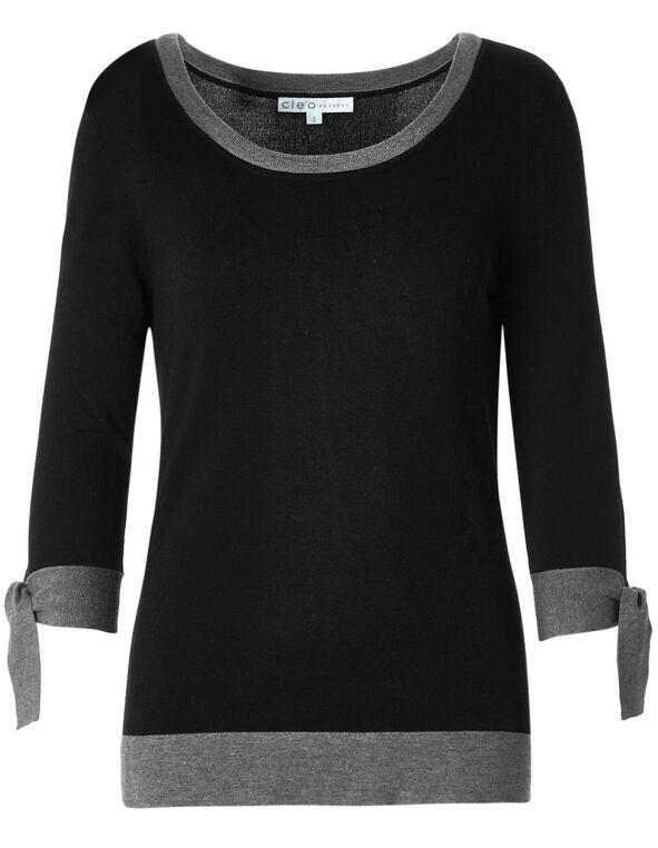 Black Contrast Sweater, Black, hi-res