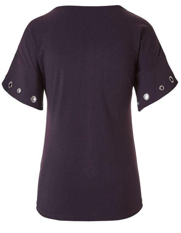 Purple Grommet Sleeve Top, Purple, hi-res