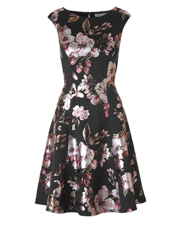 Cherry Blossom Scuba Dress, Black, hi-res