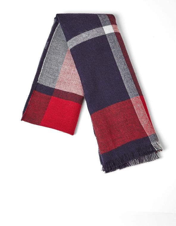 Navy Reversible Blanket Scarf, Navy, hi-res