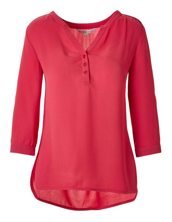 Fresh Pink Roll Sleeve Blouse, Fresh Pink, hi-res