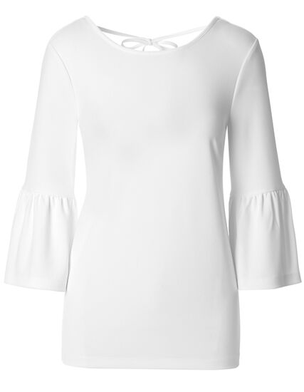 White Crepe Bell Sleeve Top, White, hi-res