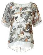 Patterned Sequin Caftan Blouse, White Pattern, hi-res
