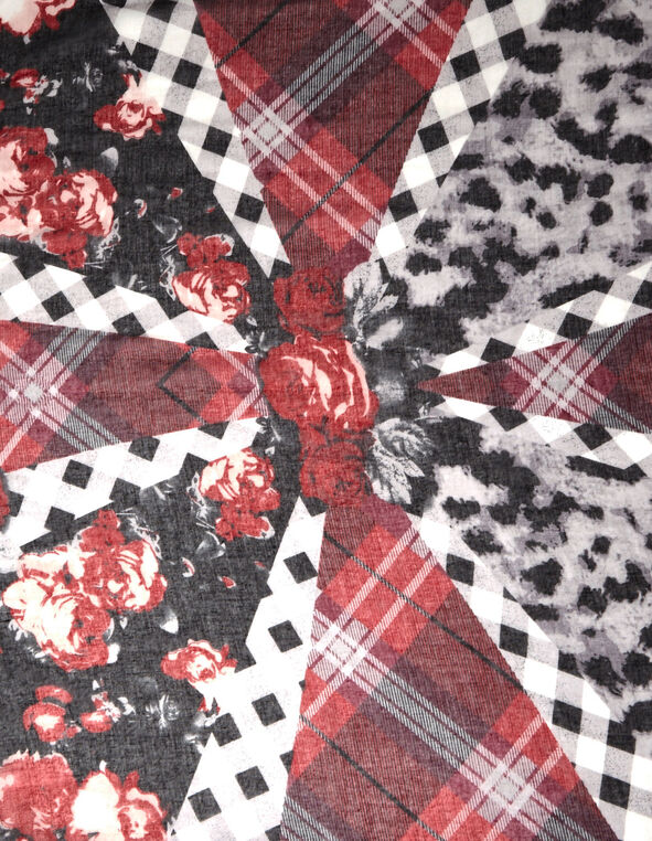 Red Mix Print Oblong Scarf, Red, hi-res