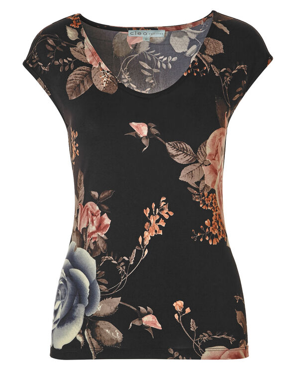Black Floral Sleeveless Top, Black, hi-res