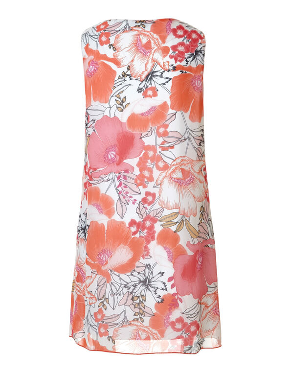 Chiffon Coral Floral Shift Dress, Coral/Pink, hi-res