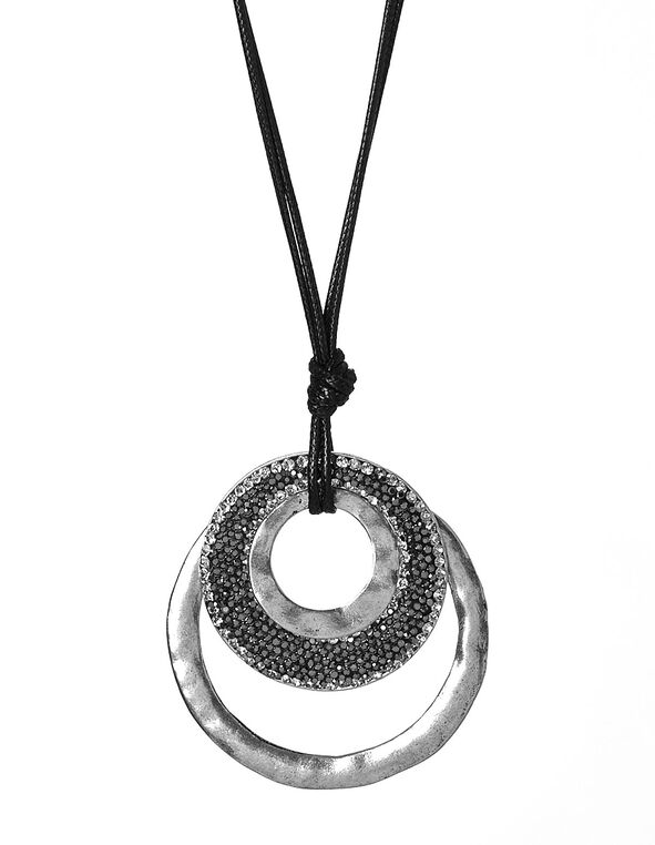 Black Corded Adjustable Necklace, Black, hi-res