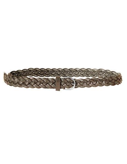 Brown Braided Belt, Brown/Silver, hi-res