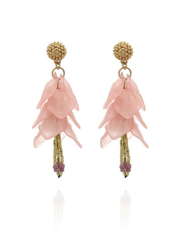 Pink Translucent Floral Earring, Pink, hi-res