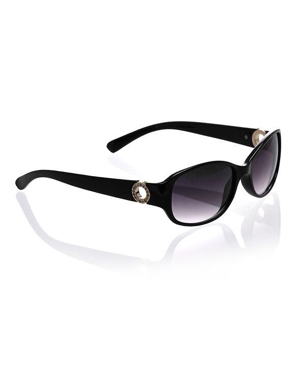Black Small Oval Frame Sunglasses, Black, hi-res