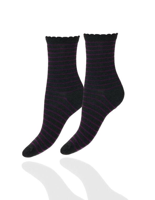 Purple Strip Scallop Edge Sock, Purple, hi-res