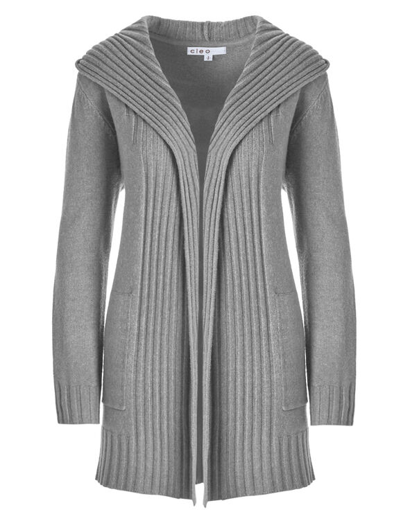 Grey Hooded Cardigan, Grey, hi-res