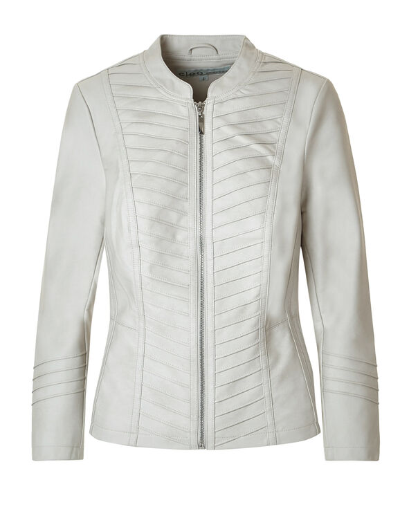 Ivory Faux Leather Jacket, Ivory, hi-res