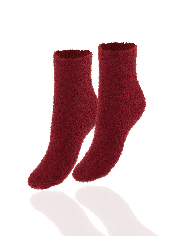 2 Pair Winter Red and Ivory Plush Sock, Winter Red/Ivory, hi-res