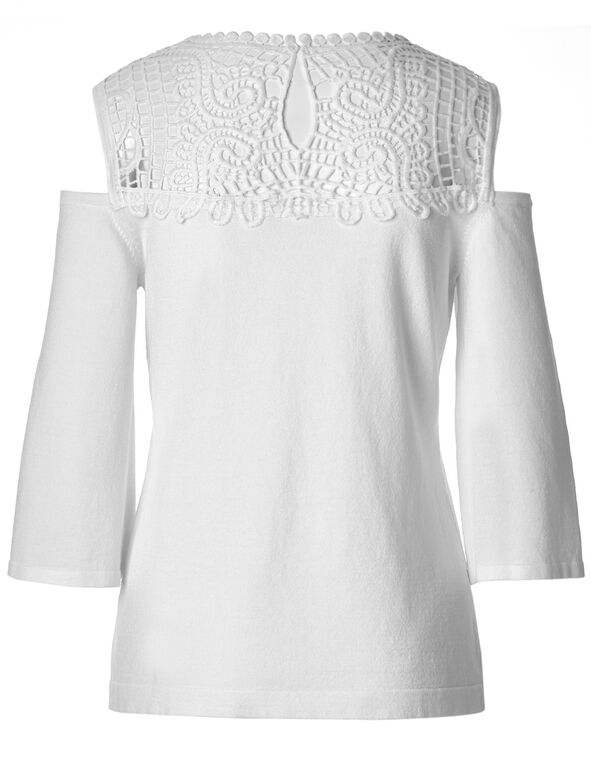 White Crochet Cold Shoulder Sweater, White, hi-res