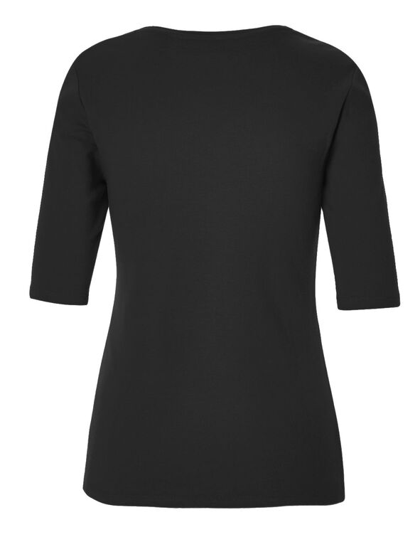 Black Cotton Tee, Black, hi-res