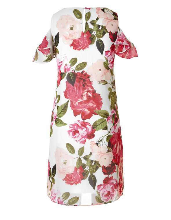 Floral Cold Shoulder Dress, Pink/White, hi-res