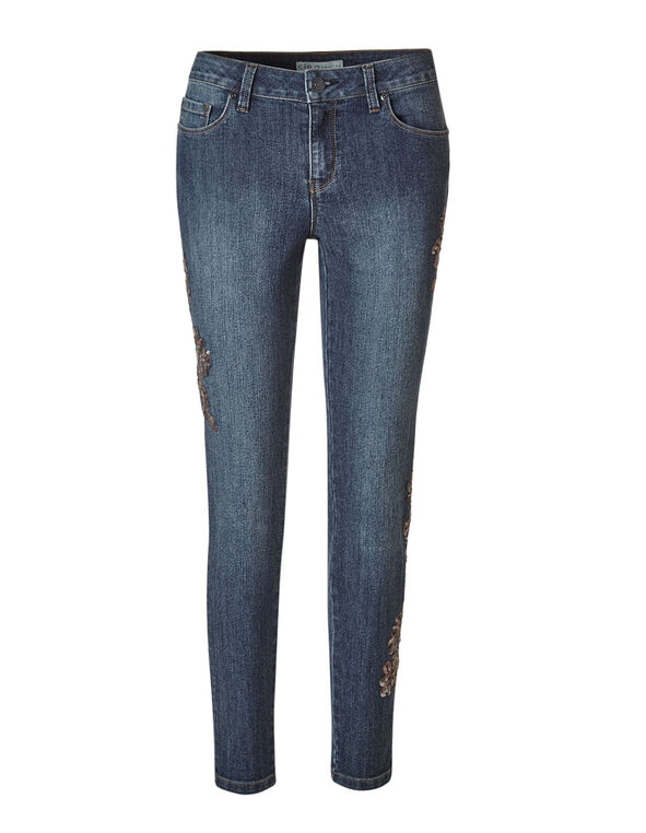 Mid Wash Sequin Floral Jean, Mid Wash, hi-res