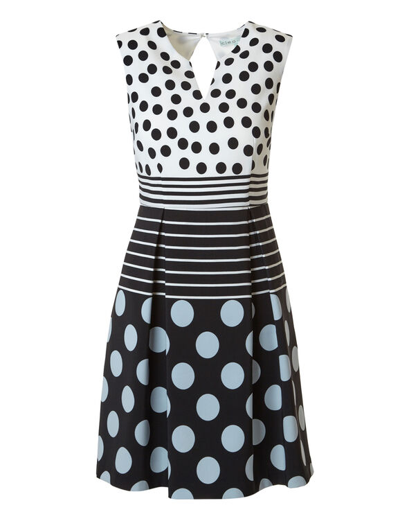 Dotted Dress With Pockets, Black/White, hi-res
