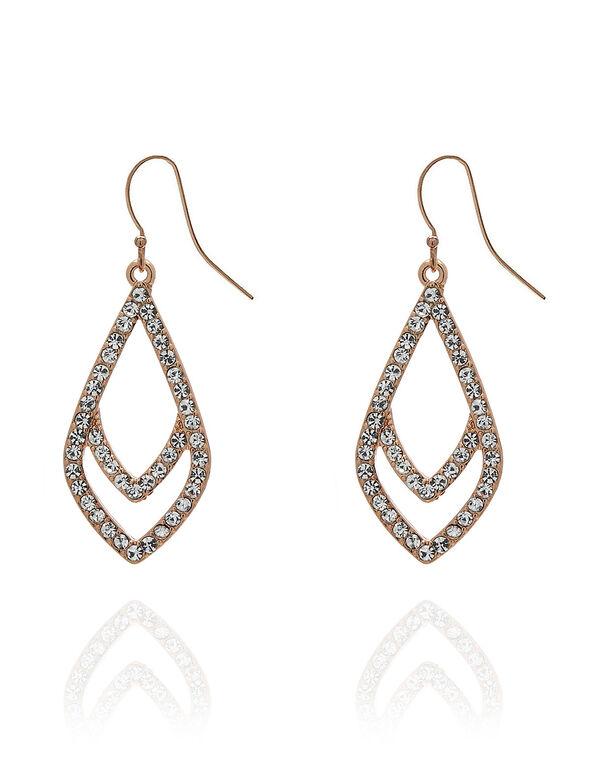 Rose Gold Crystal Teardrop Earring, Rose Gold, hi-res