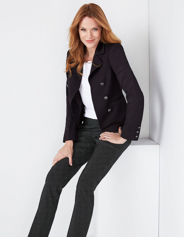 Black Pique Knit Military Blazer, Black, hi-res