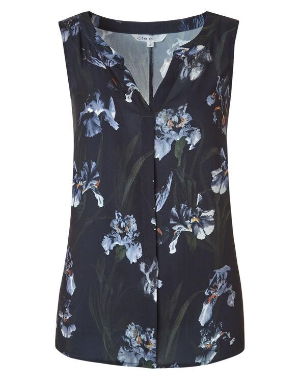 Navy Floral Hi-Low Shell Blouse, Navy Floral, hi-res
