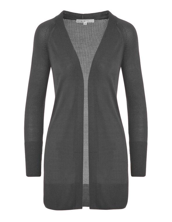 Coal Grey Long Cardigan, Grey, hi-res