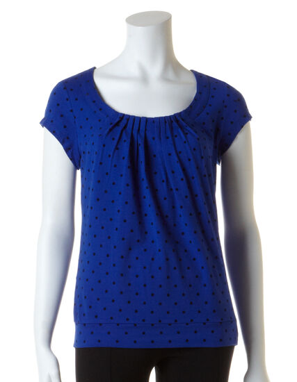 Lapis Blue Flocked Dot Tee, Lapis Blue/Navy, hi-res