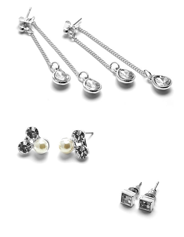 Silver Cluster Trio Earring Set, Silver, hi-res