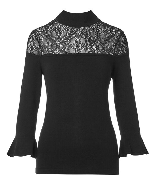 Black Bell Sleeve Lace Sweater, Black, hi-res