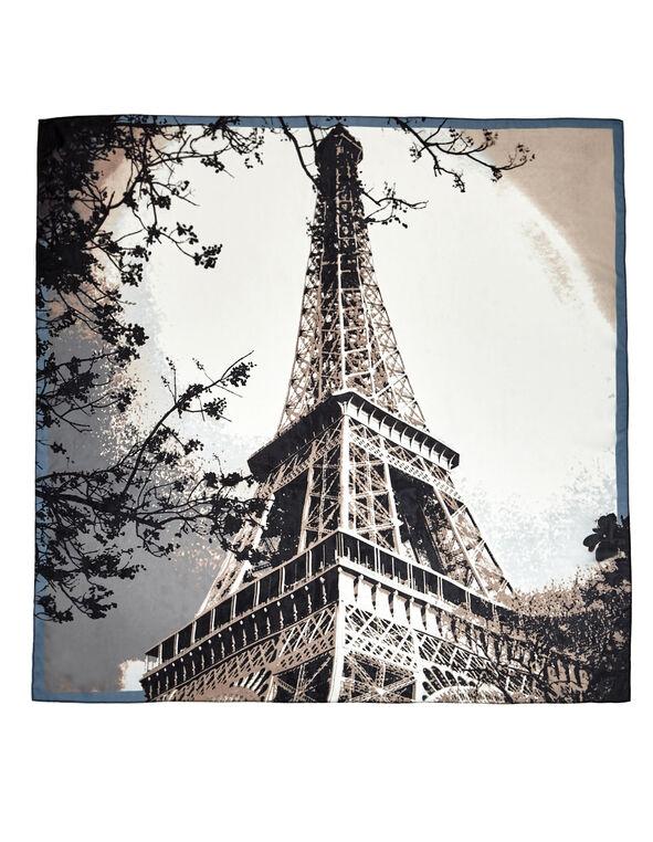 Neutral Eiffel Tower Scarf, Nude/Blue Cloud/Charcoal, hi-res
