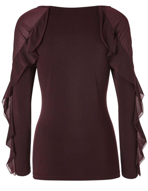 Burgundy Mesh Sleeve Top, Burgundy, hi-res