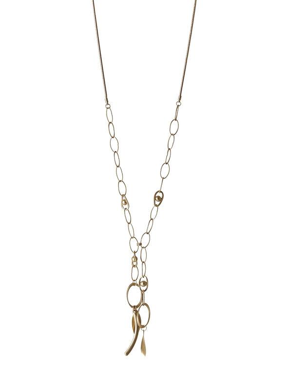Matte Gold Link Necklace, Gold, hi-res