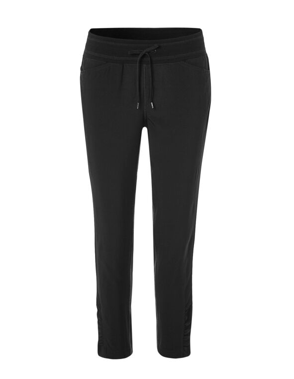 Black Soft Ruched Ankle Pant, Black, hi-res