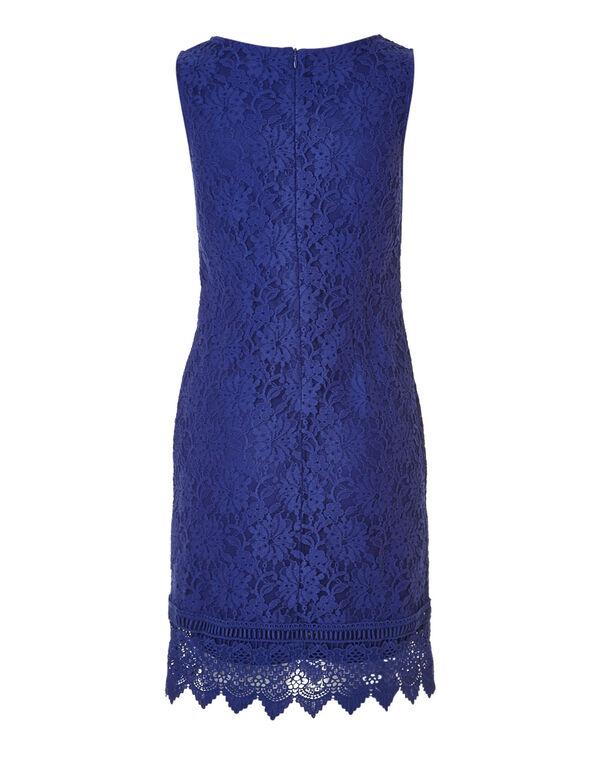 Lace Cobalt Shift Dress, Cobalt, hi-res
