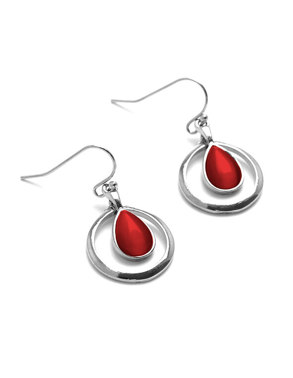 Red Cat Eye Earring, Red, hi-res