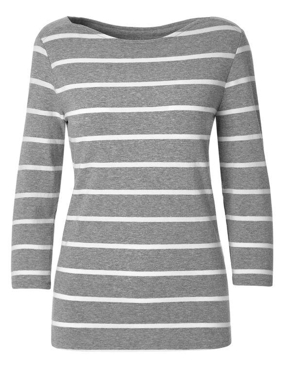 Grey Striped Cotton Tee, Grey Melange, hi-res