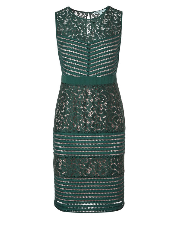 Green Lace Sheath Dress, Green, hi-res