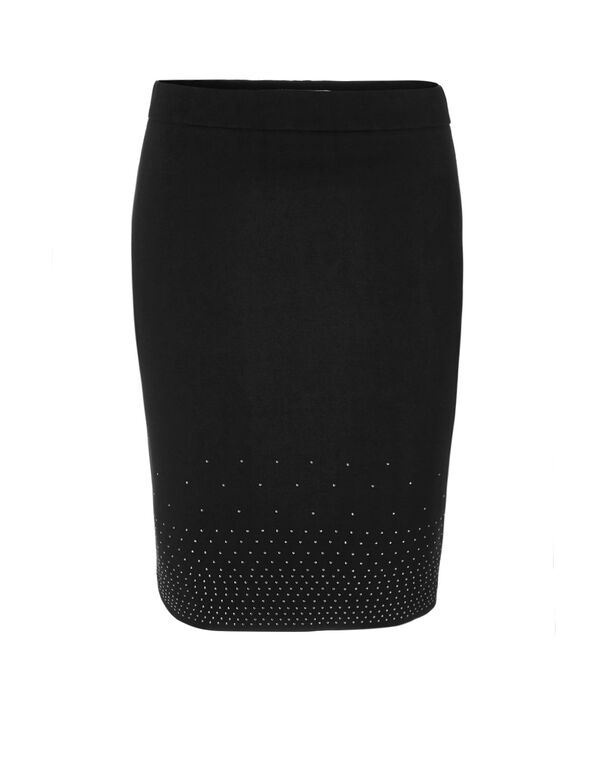 Black Studded Pencil Skirt, Black, hi-res