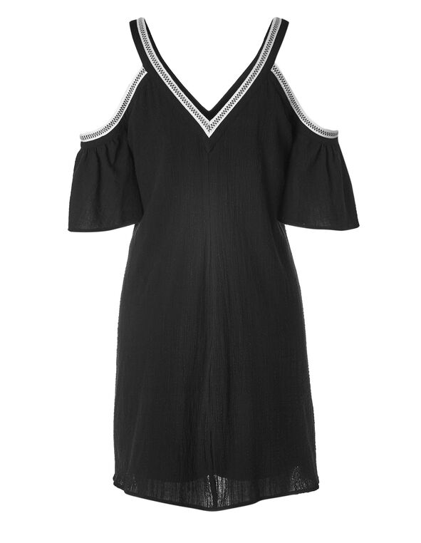 Black Cold Shoulder Cotton Dress, Black, hi-res