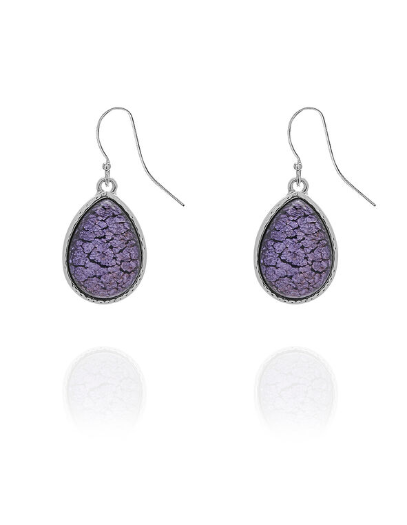 Purple Crackled Stone Earring, Purple, hi-res